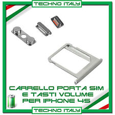 ALLOGGIO SLOT PORTA SIM CARD + KIT TASTI VOLUME POWER LATERALI per IPHONE 4G 4S