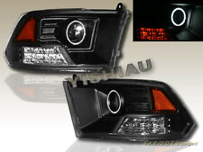 09-12 DODGE RAM 1500 2500 3500 PICKUP BLACK PROJECTOR HEADLIGHTS CCFL HALO LED