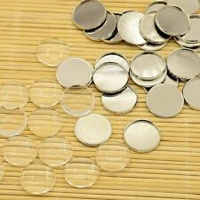 10Sets DIY Brass Cabochons Settings Clear Glass Beads Gift Photo Embellishment