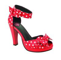 T.U.K A8854L Starlet Heel in Red / White Polka Dots