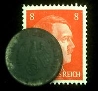 Rare Old WWII German War 5 Reichspfennig Coin & Stamp World War 2 Artifact