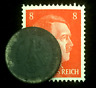 Rare Old WWII German War 5 Reichspfennig Coin & Stamp World War 2 Artifact