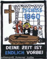 "Anti 1860 Aufnäher ""ENDLICH VORBEI"" Kutte Weste Fan Patch Block Kurve + neu +"