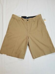 NEW!!! IZOD Mens Saltwater Flat Front Stretch Chino Shorts Khaki Size 33 NWT