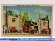 Postcard Linen Grauman's Chinese Theatre Street View Linen c1940s Hollywood CA