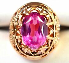 Antique Russian 14K(583)Solid Gold & 6.8CT Oval Cut Synthetic Ruby Filigree Ring