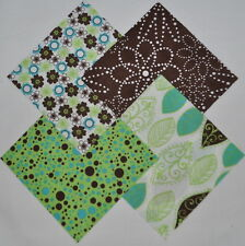 """Chocolate/Lime Floral 4"""" Fabric Squares Charm Pack 100% cotton, 40 pieces"""