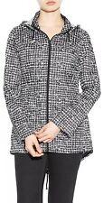 Womens Black & White Abstract Print Zip Mac Jacket Shower proof Hooded Raincoat