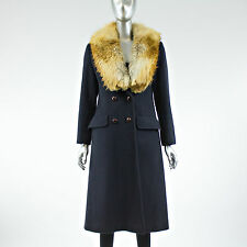 Black Cashmere Coat with Red Fox Fur Collar - Size S - Pre-Owned