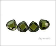 6 CZ Flat Pear Briolette Beads 8x8mm Dark Olive #64610