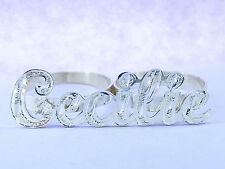 PERSONALIZED PAVE  SILVER .925  TWO 2 FINGER NAME RING