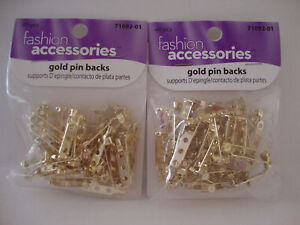 """BAR STYLE PIN BACKS WITH SAFETY CATCH 3/4"""" - GOLD - 2 PACKAGES"""