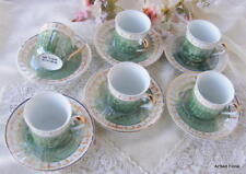 Childrens Set of 6 Tea Cups and Saucers Green Porcelain Sets Party