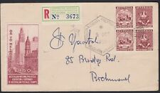 Australia 1950 ANPEX Exhibition GREEN REGISTERED Label Souvenir Cover (See Back)