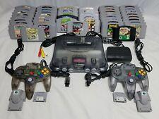 Nintendo 64 Funtastic Smoke Black Console w/ 45 Games AUTHENTIC Lot N64 System