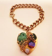 Vintage Designer Gold Tone Chain Bracelet with Stones Pedant