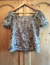 Brown and Taupe Leaf Print Top by Lime - 14