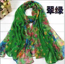 Green Women's Long Fashion Soft Cotton blend Shawl Flower Wraps Scarf Scarves