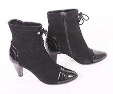 13D Dyva Stiefeletten Ankle Boots Gr. 37,5 Leder schwarz Samtvelours Lack