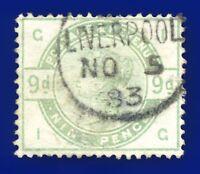 1883 SG195 9d Dull Green K25 IG Liverpool Thimble NO 5 83 Fine Used CV £480 aznj