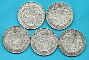 5 X GEORGE V SILVER HALFCROWN COINS DATED 1923 - 1927. INCLUDES 1925 HALF CROWN.