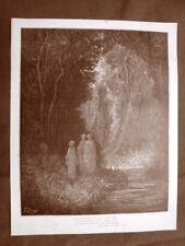 Incisione di Gustave Dorè 1890 Dante presso fiume Divina Commedia Purgatorio