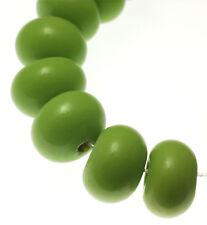Handmade Lampwork Glass Spacer Rondelle Beads Light Green 10MM x 6MM (20)