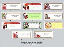 30 Personalized Return Address Labels Christmas Animals Buy 3 get 1 free (ca1)