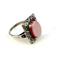 Vintage Marcasite Ring Red Stone Silver Tone Cocktail Jewellery