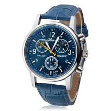 Classical Herren Geschäft Armbanduhr Blue Leather Quartz Anolog Sport Army Watch