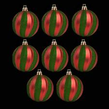 Christmas Decoration 8 Pack 60mm Glitter Swirl Baubles - Green & Red