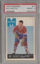 1962 Parkhurst Hockey Phil Goyette Card # 37 PSA 8 Near Mint - Mint