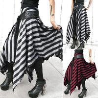 ZANZEA Damen Gestreift Maxirock Mode Asymmetrisch Rock Elastische Taille Röcke
