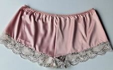 Quality Pink Satin  Cream Lace French Cami Knickers Panties Burlesque  12 - 14
