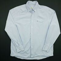 Lacoste Mens Vintage Shirt 44 XL Long Sleeve Blue Regular Fit Check Cotton