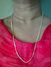 One Gram Gold  Small Pearl  Thin Gold plated chain for Men Women kids Unisex
