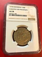 1978 INDONESIA 100R FORESTRY FOR PROSPERITY NGC AU 58