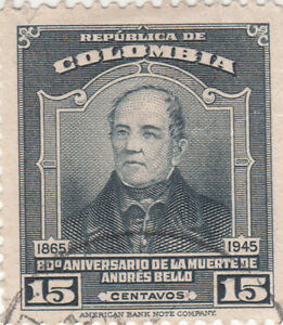 COLOMBIA 1947, ANDRES BELLO, 15C Used