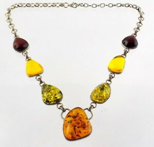 Sterling Silver Amber and Resin Statement Necklace 925 55.8 Grams 20.75 Inches