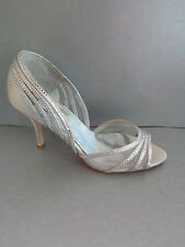 New $315 Badgley Mischka Glynn Grey Open Toe Pumps 9.5