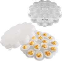 Deviled Egg Trays With Snap On Lids Set Of 2 Each Tray Holds 18 Eggs