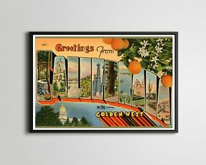 """Vintage CALIFORNIA """"In the Golden West"""" Postcard POSTER! (up to 24"""" x 36"""") - Art"""