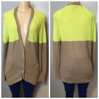 American Eagle Neon Yellow Tan Cardigan Women's Sweater Size Medium