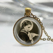 St Maria Goretti w Dove Patronness of Children, Purity Catholic Necklace Medal