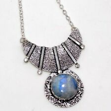 """Rainbow Moonstone 925 Sterling Silver Plated Necklace 18"""" Unique Jewelry GW"""