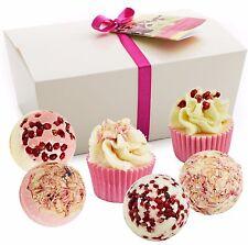 "Gift Set of 6 BRUBAKER Cosmetics Bath Bombs ""Pink Pepper Cherry"" Handmade NEW"