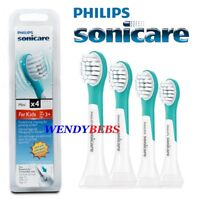 4 GENUINE PHILIPS MINI SONICARE FOR KIDS HX6034 TOOTHBRUSH REPLACEMENT HEADS.