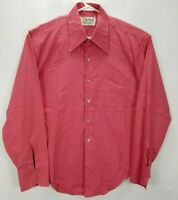 Marlboro Mens L Shirt Pink Long Sleeve Button Up Polyester Blend Standard Cuff