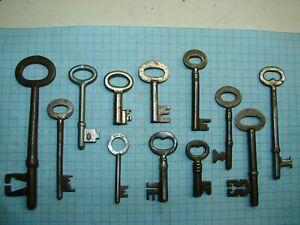 LOT OF 12 ANTIQUE SKELETON, FURNITURE, BARREL, CABINET AND OLD LOCK KEYS