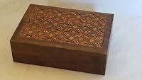 Carved wood flower design vintage Art Deco antique cigarette box